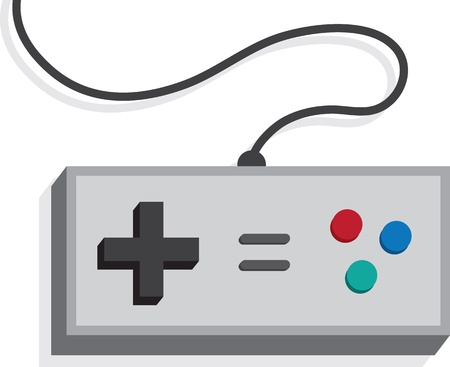 niños jugando videojuegos: Controlador de juegos retro aislado en blanco Vectores
