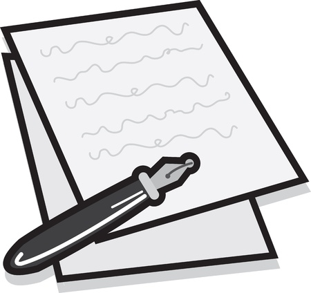 Notes and pen icon isolated on white Stock Vector - 15700912