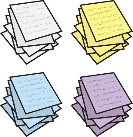 다양한 색상의 종이 노트의 스택 일러스트