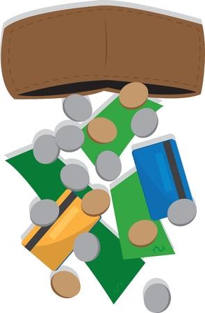 spilling: Wallet spilling money out of it  Illustration