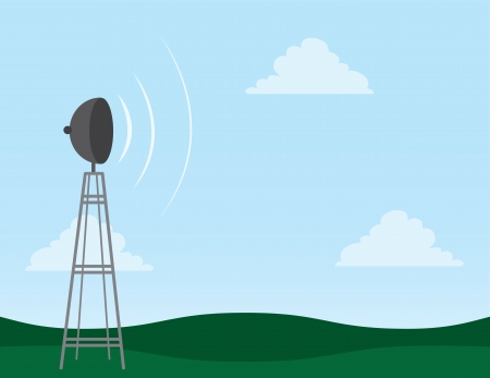 rolling hills: Transmission tower in field with signal waves