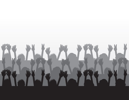 crowd happy people: Audience silhouettes cheering at concert  Illustration