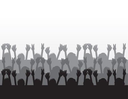 Silhouettes public acclamant au concert Banque d'images - 15804369