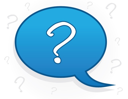 Speech bubble with question mark symbol