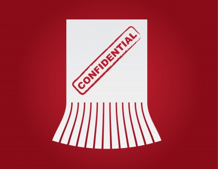 confidentiality: Confidential paper shredded with red background