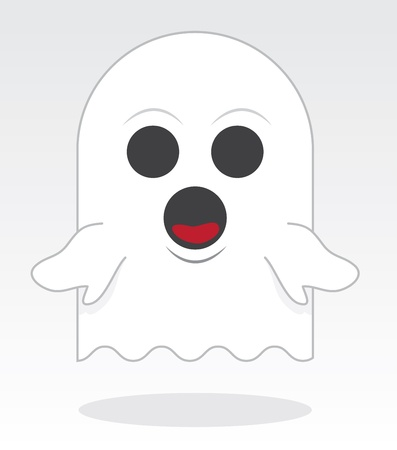 eyes wide open: Small ghost character floating with open eyes and mouth