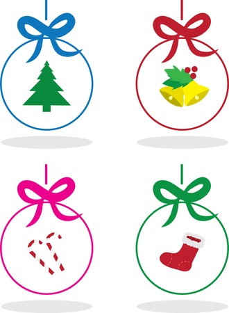 Various colored and outlined Christmas ornaments  Illustration