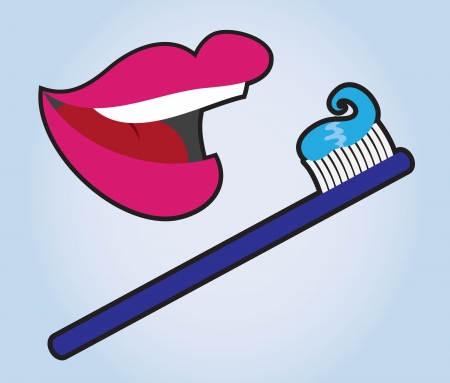 Lips with toothbrush and toothpaste  Stock Vector - 15804379
