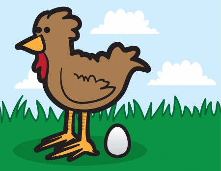 Cartoon chicken in the grass laying egg