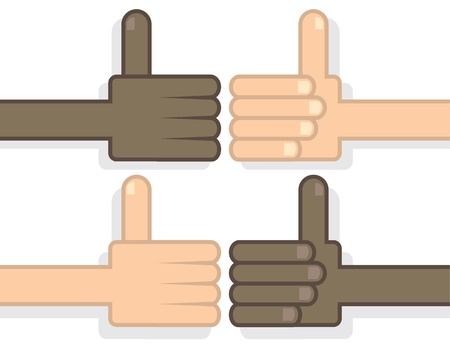 Various thumbs up cartoon hands on white background