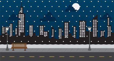 winter road: Snowing at night in the park with buildings  Illustration