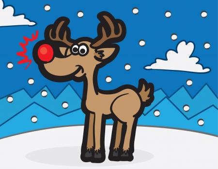 nosed: Cartoon Rudolph reindeer standing in the snow
