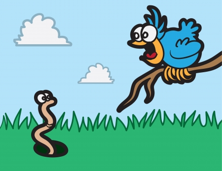 bulging eyes: Cartoon bird staring at worm in the grass