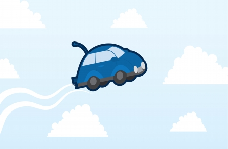 Car flying in the sky with clouds  Vector