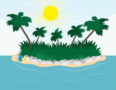 Large island with palm trees Stock Vector - 16333116