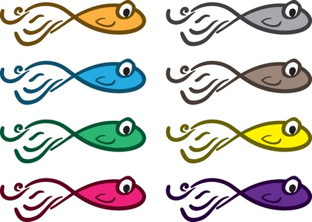 Abstract fish in various colors Stock Vector - 16333111