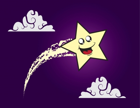 Shooting star character soaring through the sky  Stock Vector - 16333122