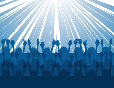 Audience silhouettes cheering at concert with blue burst of light  Vector