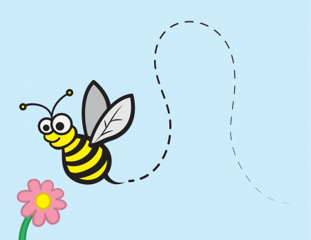 bumble: Bee character flying towards a flower  Illustration