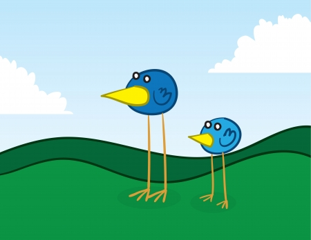 tweet: Long legged birds standing in the grass  Illustration