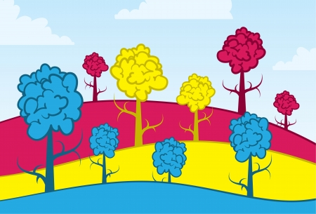 Blue, yellow and pink trees and hills  Illustration
