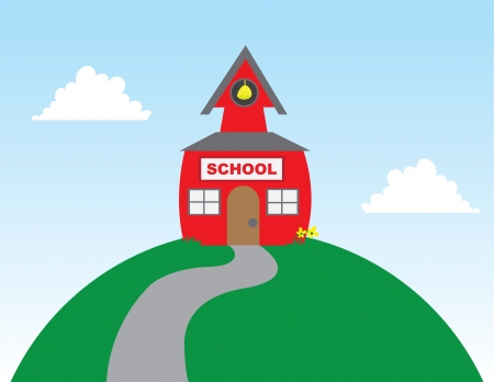 School on top of a large hill  Vector