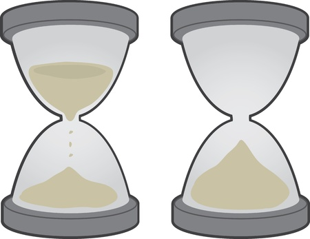 time out: Two large hourglass objects isolated