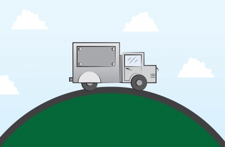 delivery package: Truck driving on a round road