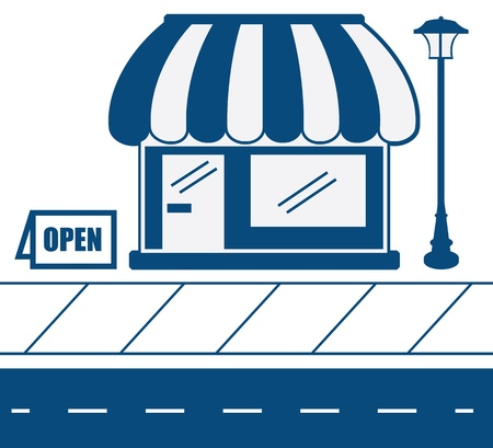 Store shop front in blue with sidewalk