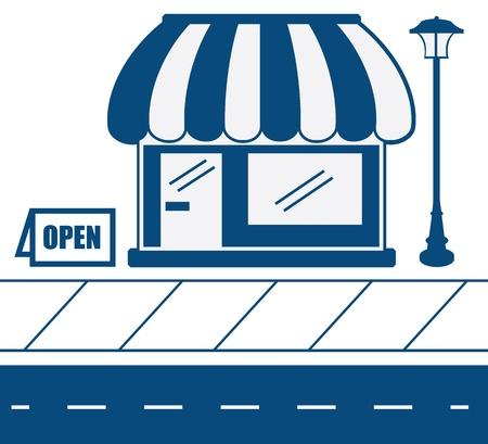 store window: Store shop front in blauw met stoep