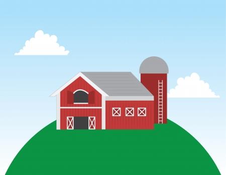 farmyard: Cartoon barn on a large hill