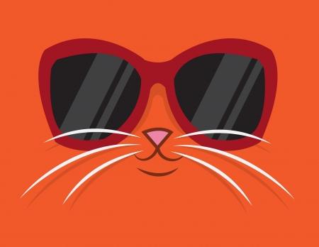 Beeldverhaalkat hoofd met zonnebril