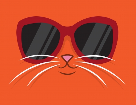 Cartoon cat head with sunglasses  Ilustração