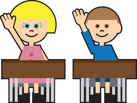 Boy and girl in school raising their hand Stock Vector - 16450133