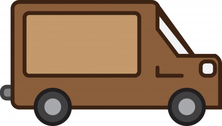 brown: Isolated brown shipping truck with empty sign  Illustration