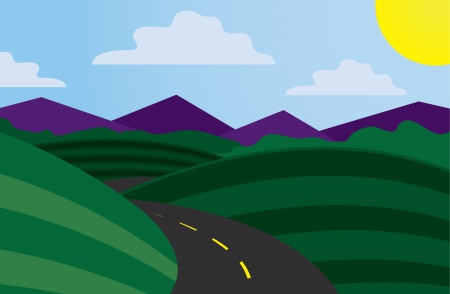 Curvy road scene with mountains in the background  Vector
