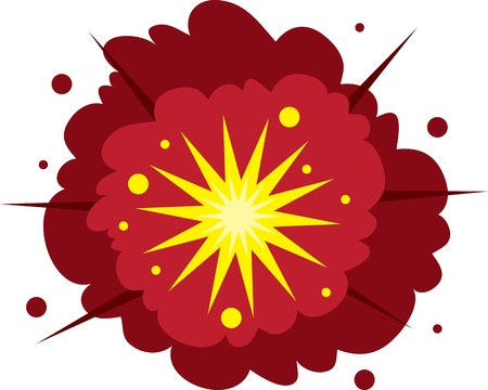 Isolated explosion. Red and yellow.  Illustration