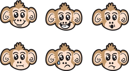 Cartoon monkey face expressions isolated Stock Vector - 16759005