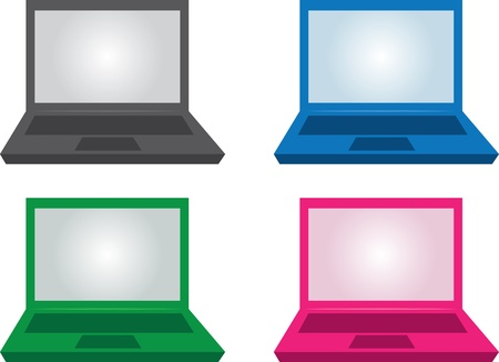 Isolated laptops in various colors   Stock Vector - 16759001