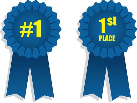 race winner: 1st place winning blue ribbons