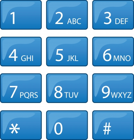 dial pad: Isolated phone dial pad with blue buttons