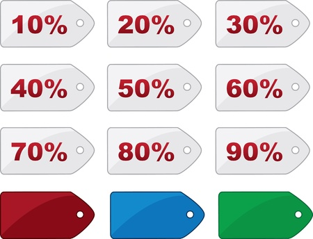 Isolated price tags with various percentages  Çizim