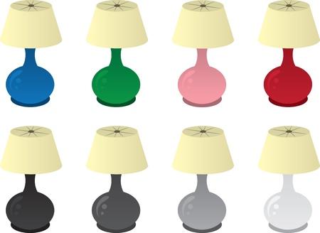 Geïsoleerde lampen in verschillende kleuren Stock Illustratie