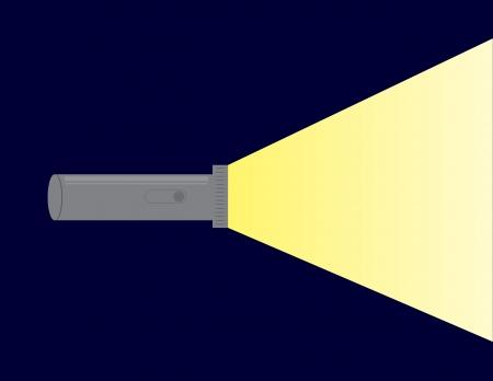 Flashlight shining beam of light