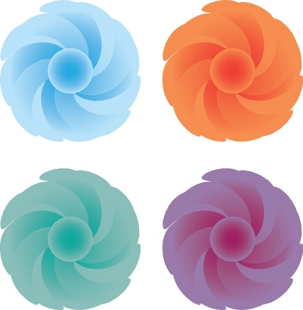 Abstract flowers with curved petals Stock Vector - 16833351
