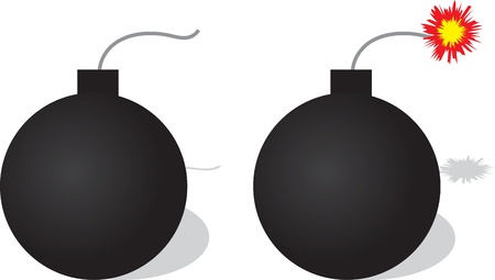 Bomb with and without lit fuse