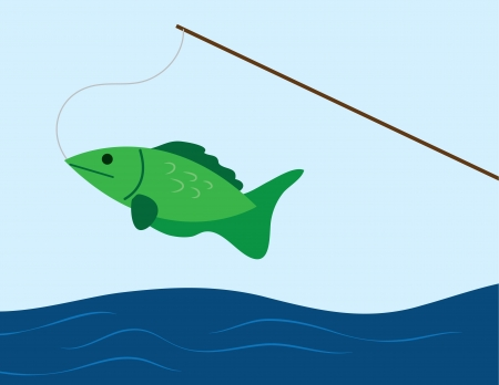 Fish caught on a fishing pole  Vector