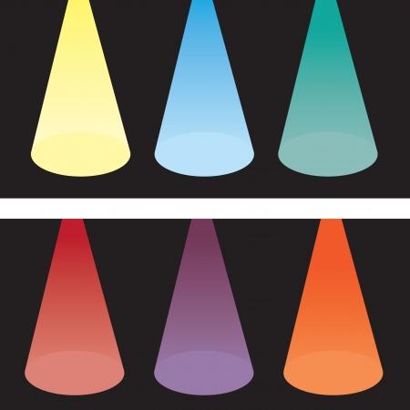 Six spotlights in various colors   Ilustração
