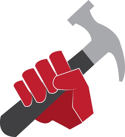 Red hand holding a hammer
