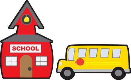 School and School bus isolated  Vector